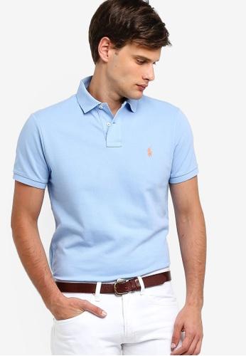 357de70d Polo Ralph Lauren blue Knit Custom Fit Basic Mesh Polo Shirt  FEBB6AA2D94B2BGS_1