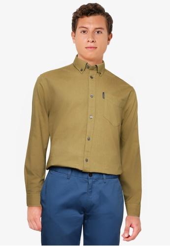 Ben Sherman green Signature Gots Organic Oxford Shirt B132AAA24E419AGS_1