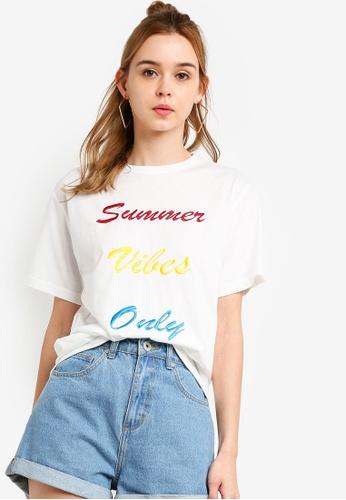 Something Borrowed 白色 刺繡T恤 65418AA998B264GS_1