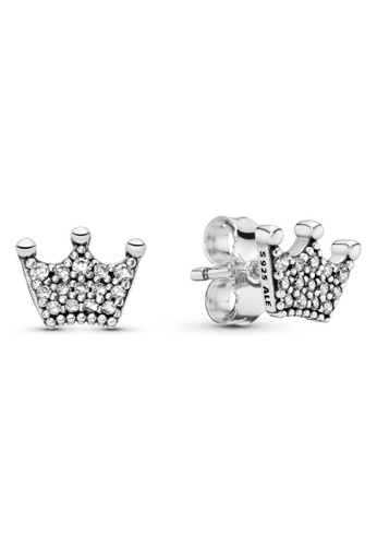 PANDORA silver Pandora Crown Stud Earrings 04489AC4A52976GS_1