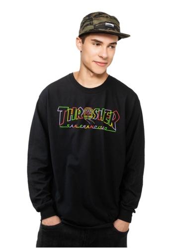 Thrasher black Thrasher Cable Car Long Sleeve T-Shirt Black 4DA24AA51AF8A3GS_1