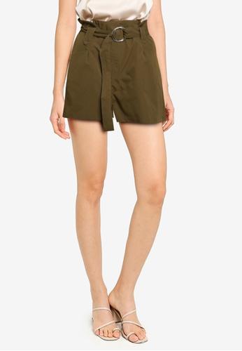 ZALORA BASICS green D Ring Paperbag Shorts 5F88CAA042F69BGS_1