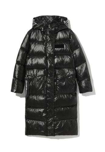 LOS ANGELES PROJECT -FASHION black Slogan print quilted down coat. 3A13FAA509402EGS_1