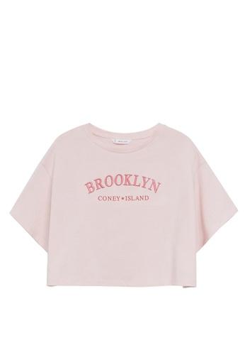 MANGO KIDS pink Message Crop T-Shirt 775D8KA680ADF4GS_1