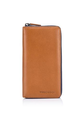 ENZODESIGN brown Full Grain Soft Leather Zip Around Wallet (With Cell Phone Pocket) EN357AC0FSSBSG_1