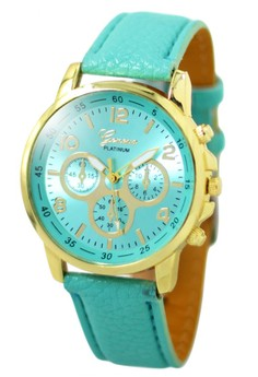 Geneva Sophie Mint Green Leather Strap Watch