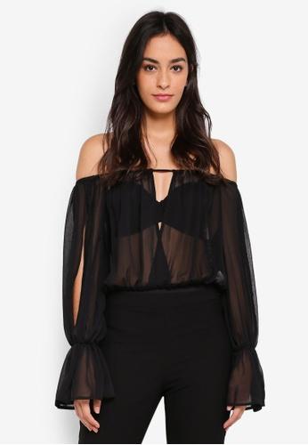 MISSGUIDED black Bardot Frill Sleeve Keyhole Bodysuit FEA4CAAB5480A0GS_1
