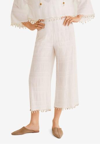 Mango 白色 Shell Hem Trousers DD986AA8054EE3GS_1