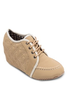 Hi 內增高繫帶楔型布鞋
