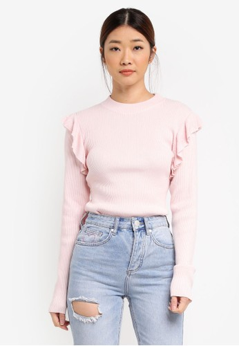 Factorie pink Ruffle Shoulder Rib Knit Top FA880AA0SKI3MY_1