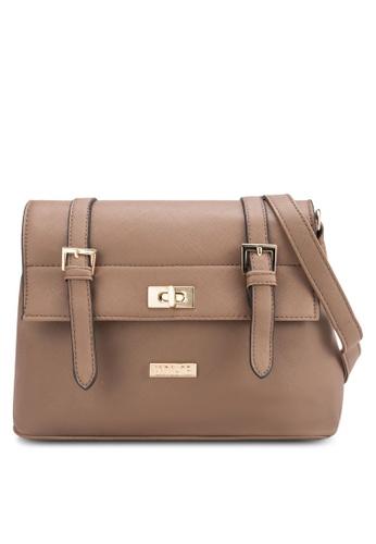 Unisa 綠色 Unisa Saffiano Texture Mini Sling Bag With Turn Lock UN821AC93BPAMY_1