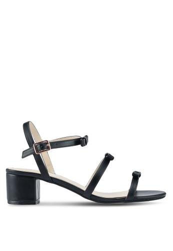 Velvet black Heeled Sandals With Bow Straps FCE45SH5BA5032GS_1