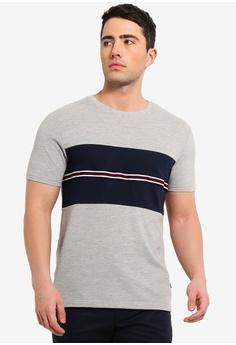 9ab98befe6d Burton Menswear London grey Grey And Navy Blocking T-Shirt With Chest Tape  CCAFBAAE2C4C5DGS 1