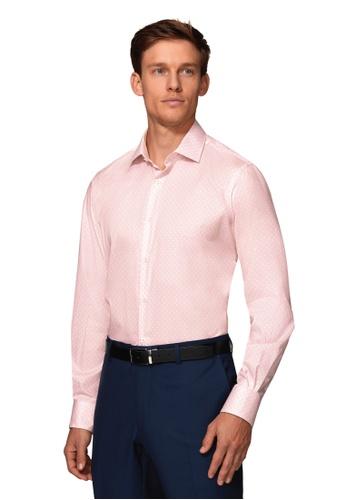 T.M. LEWIN pink T.M.Lewin Slim Fit Pink Diamond Shirt 7AA4FAA54AF3FFGS_1