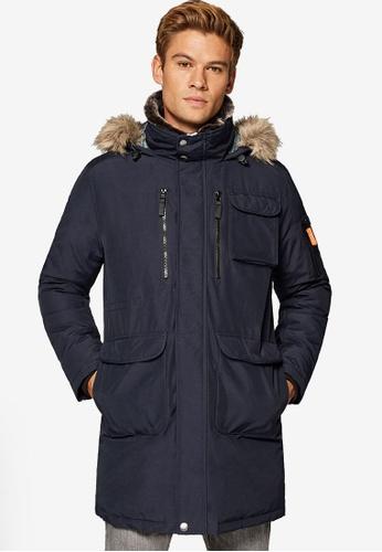 ESPRIT 海軍藍色 仿皮大衣外套 34E63AADD354ECGS_1