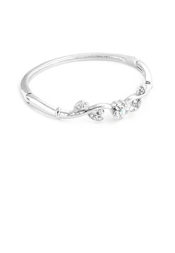 Glamorousky silver Elegant Flower Bangle with Silver Austrian Element Crystals F4E66ACB5010E9GS_1