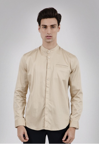 The Executive brown Kurta Lebaran Oxford Shirt 6A589AAD6A30F3GS_1