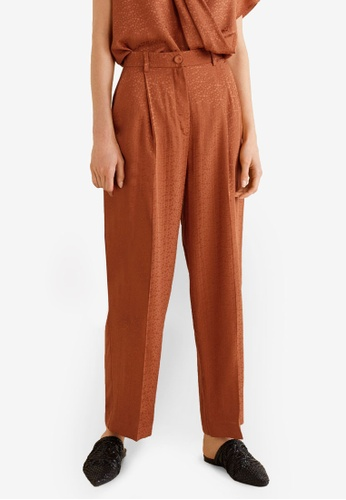 Mango brown Flowy Straight-Fit Trousers 44B6AAAB42938FGS_1