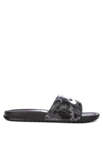 "Nike black Nike Benassi ""Just Do It."" Print Sandals F2413SH76F55CFGS_1"