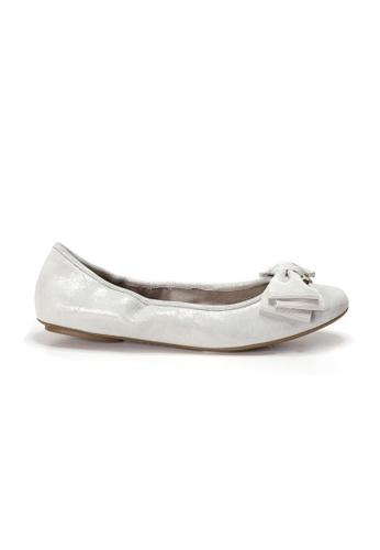 Shu Talk 銀色 AMAZTEP 全新舒適鞋底蝴蝶結芭蕾舞平底鞋 CFD9ASHED30EFCGS_1