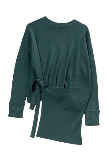 KLAPS green Wrap Sweater 60380AAEDF6556GS_1