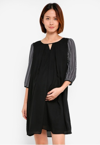 Spring Maternity black Maternity Long Sleeve Zea Chevy Nursing Dress D3D1AAAA006592GS_1