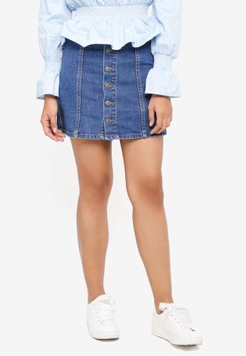 Something Borrowed blue Pocket Detail Denim Skirt E62A8AABFF9BBAGS_1