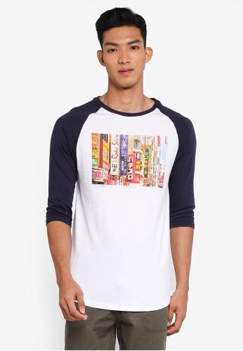 Cotton On 白色 and 海軍藍色 七分袖印花T恤 BE103AA45DBCBDGS_1
