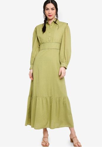 Zalia green Placement Print Shirt Dress 806DAAA5C204C8GS_1