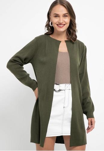 Noir Sur Blanc green Ladies Long Cardigan C3ADCAA51EAB38GS_1