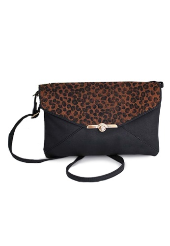LULUGIFT black and brown Lulugift Dunnes Vintage Leopard Pattern Envelope Sling Bag LU989AC39EXOMY_1