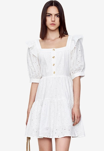 Urban Revivo white Square Neck Short Sleeve Dress 0F981AA8A79EF4GS_1