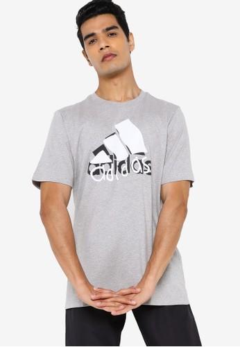ADIDAS grey bos hacked logo short sleeve graphics tee 8AD35AA42A211EGS_1