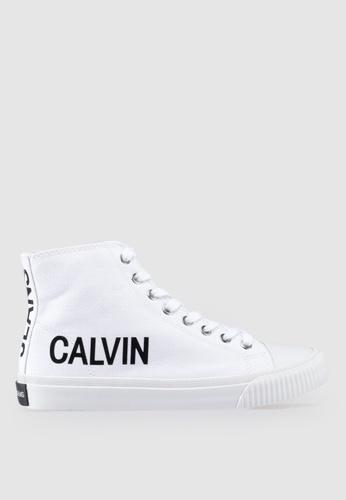 Calvin Klein 白色 LOGO印花高筒運動鞋 517A4SH984BA19GS_1