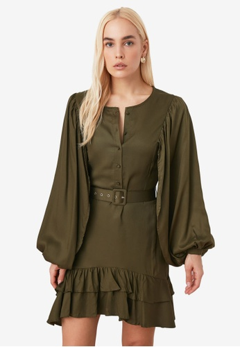 Trendyol green Belted Ruffle Hem Balloon Sleeve Dress 142A4AA6DDF422GS_1