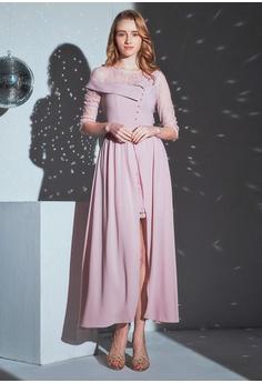 1a1b220382f5 O'MUSES Lace Stitching Chiffon Maxi Party Dress HK$ 506.00. Sizes S XL XXL