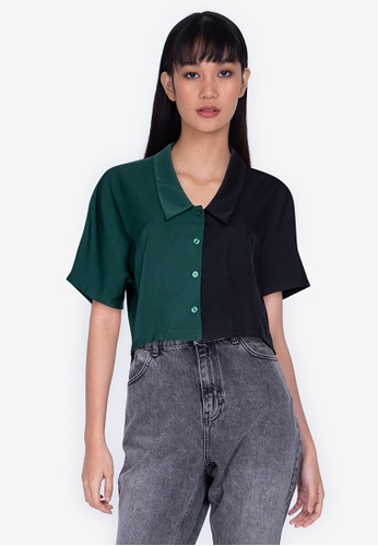 ZALORA BASICS multi Bicolor Crop Shirt F0A0AAA614B18EGS_1