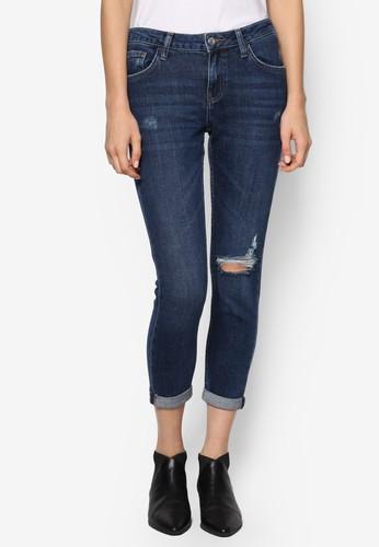 Pesprit outlet 台灣ETITE MOTO膝蓋刷破窄管牛仔褲, 服飾, 服飾
