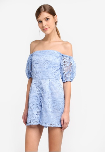Miss Selfridge blue Cny Blue Lace Bardot Playsuit MI665AA0STCJMY_1