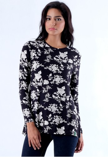 Point One LATEEFAH Black Floral T-shirt With Zipper On The Back
