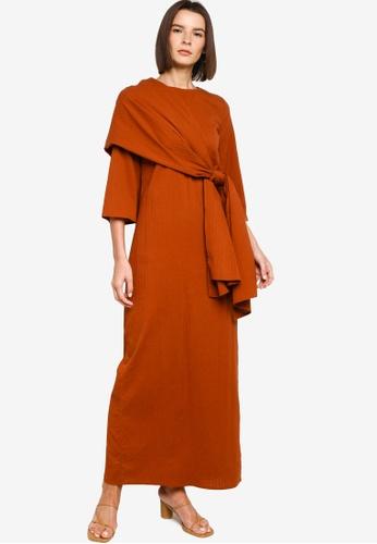 ZALIA BASICS 褐色 Long Dress With Selendang 1DB0BAAE8F836BGS_1