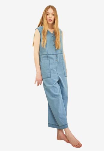 NAIN blue Wide Denim Jumpsuit B8CEAAAD06CBEBGS_1