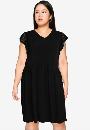 Only CARMAKOMA black Plus Size Fine Knee Dress 8A581AAEFCDDDAGS_1