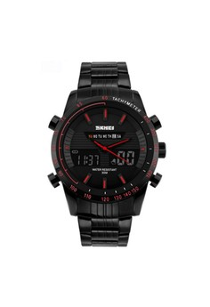 30M Waterproof Multimode Watch With Week Hour Minute Seconds Display - Red