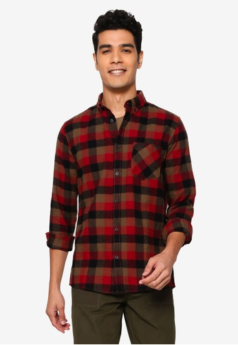 !Solid red Arvid Checked Shirt 55117AAC256349GS_1