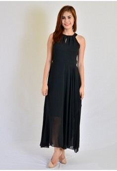 Maxi Halter With Pleats
