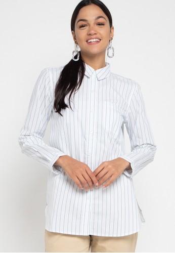 GEELA white Eilaria Stripe Shirt A6CEBAAA75E681GS_1
