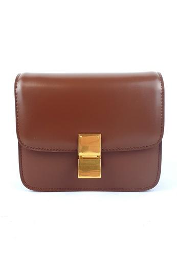 BELLE LIZ brown Gold Buckle Retro Leather Party Handbag Crossbody Bag Caramel 9BE9FAC37C65C2GS_1