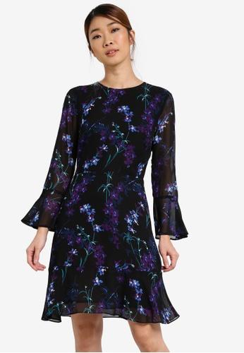 WAREHOUSE black Gilly Floral Flippy Dress WA653AA0SHKXMY_1