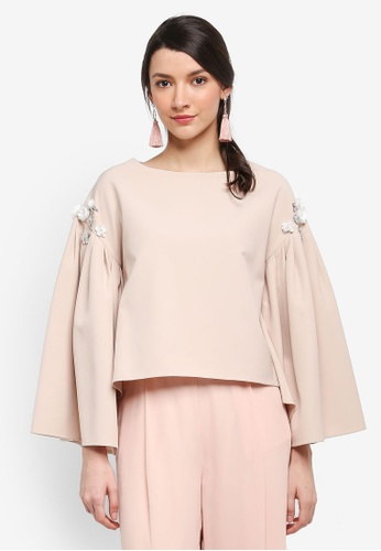 Zalia beige Embellished Pleated Sleeve Top B7E1CAA2B20E7CGS_1